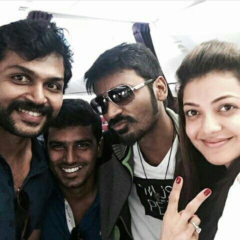 kajal aggarwal dhanush and karthi selfie  tamil movies