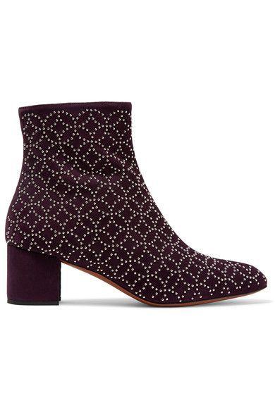Alaïa - Studded Suede Ankle Boots - Merlot