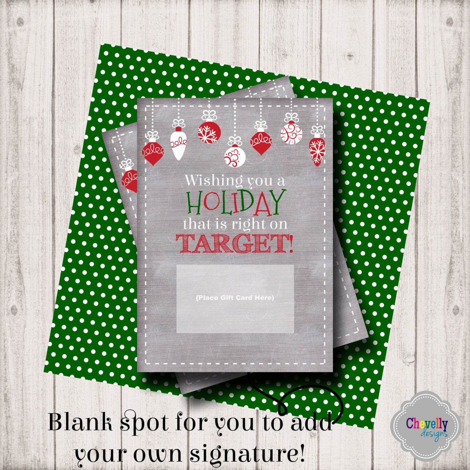 INSTANT DOWNLOAD -Target Holiday Gift Card Printable