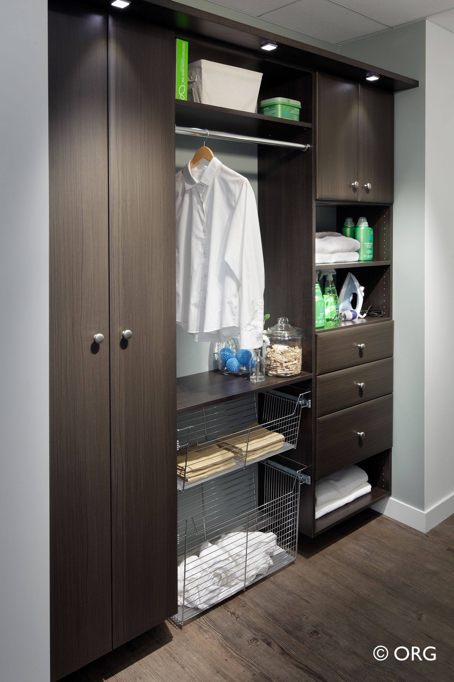 Mudroom strip closet turned into a great laundry room