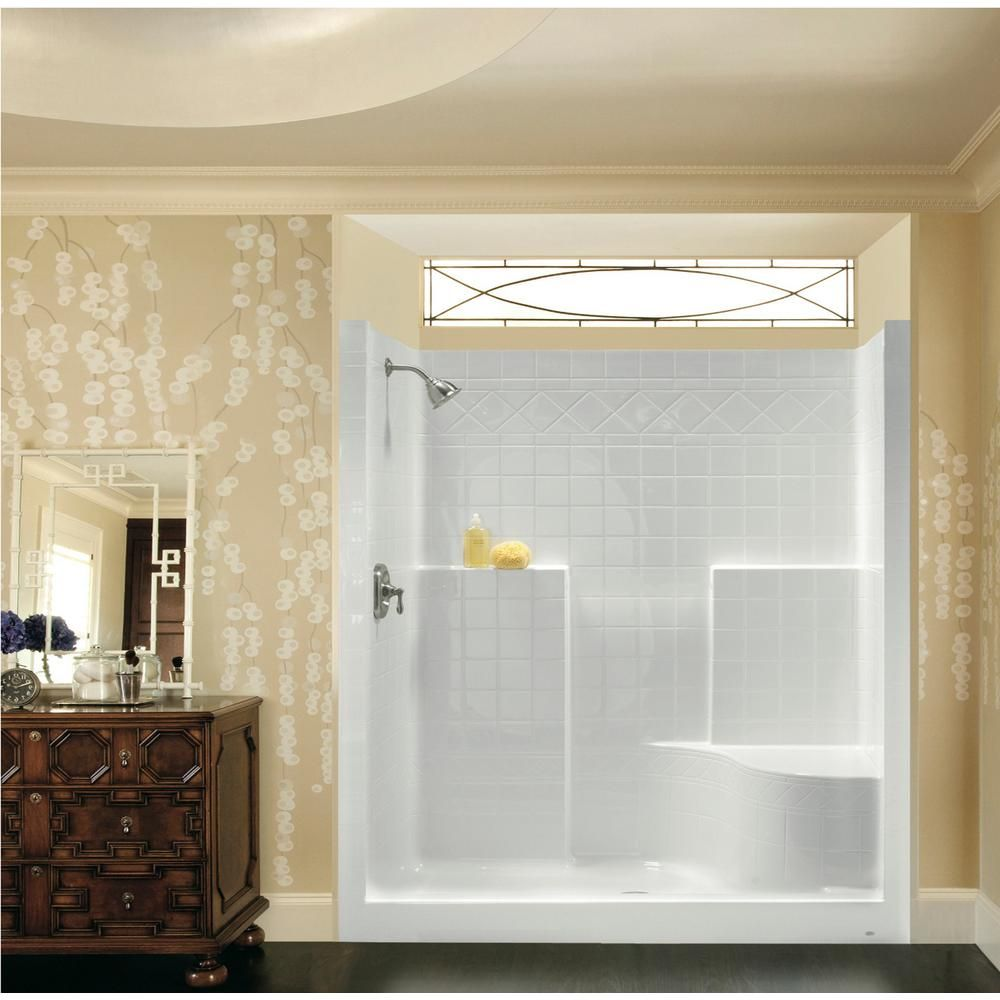 Aquatic Everyday 60 in. x 36 in. x 76 in. 1-Piece Shower Stall with Right Seat and Center Drain ...