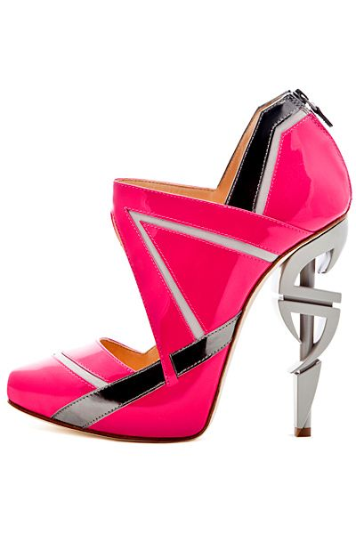 Vs2R Pink & Silver Metal Heels Ankle Boot Sandal Spring Summer 2013 #Shoes #Heels