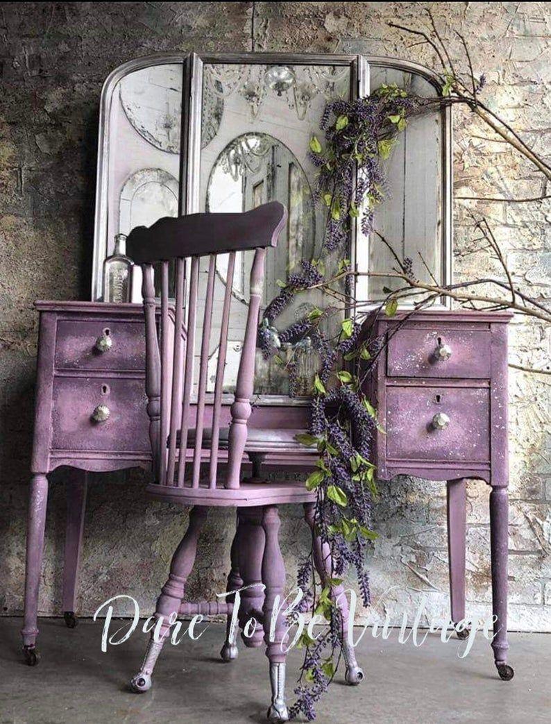 Vintage Vanity - Shabby Chic Vanity - Vintage Makeup Vanity - Dressing Table - Purple - Painted Vanity - Rustic Elegance