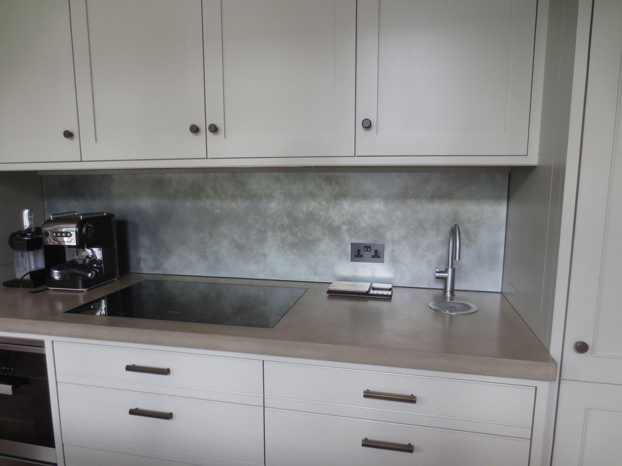190 patina zinc splashback backsplash splashback zinc table on kitchen zinc id=49111