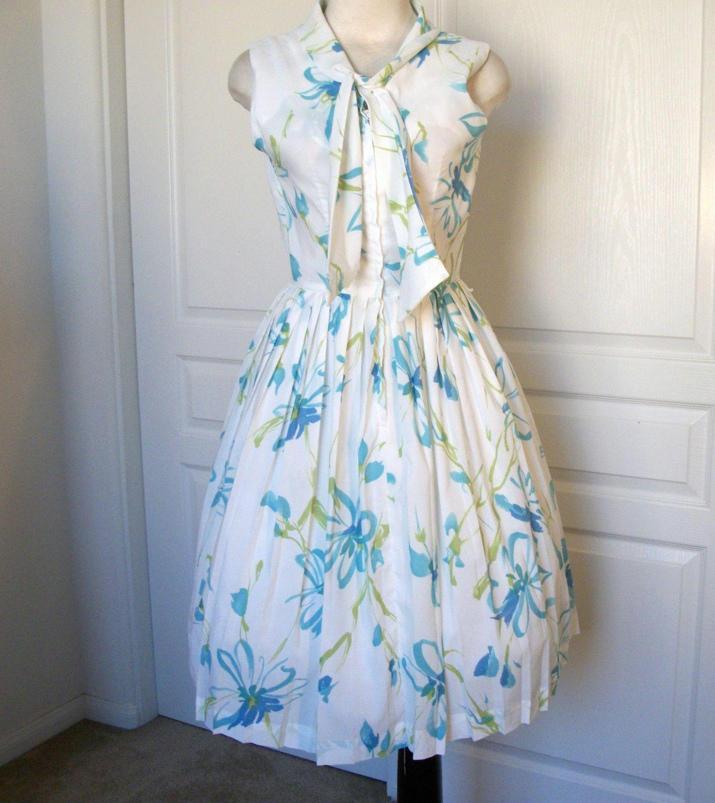 VTG 50s watercolors floral full skirt cotton garden party dress ...