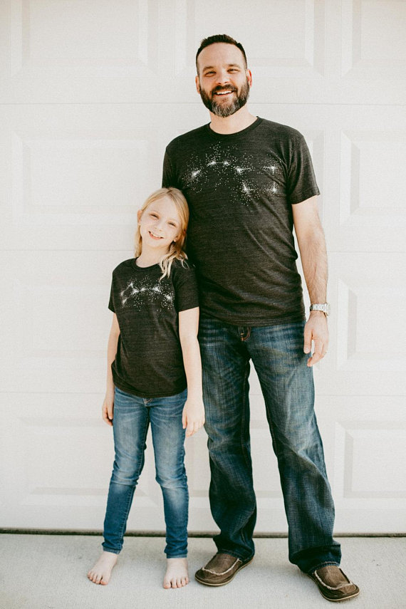 Father Son Matching Shirts, Dad and Baby Kids Father's Day Gift Men, Father Daughter Dad Son Shirts, Big Dipper Little Dipper Shirt Set Blue