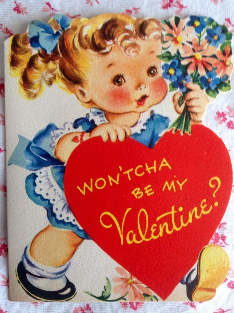 vintage 1950s valentine with sweet little girl  bouquet