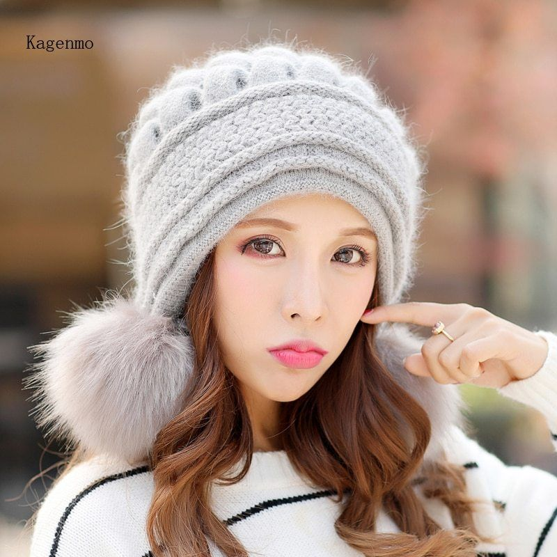 a8e5e5f64efd1 Kagenmo Fashion Outdoor Warm Rabbit Women Hat Thick Fur Lady Bomber Hat Ear  Protection Breathable Winter