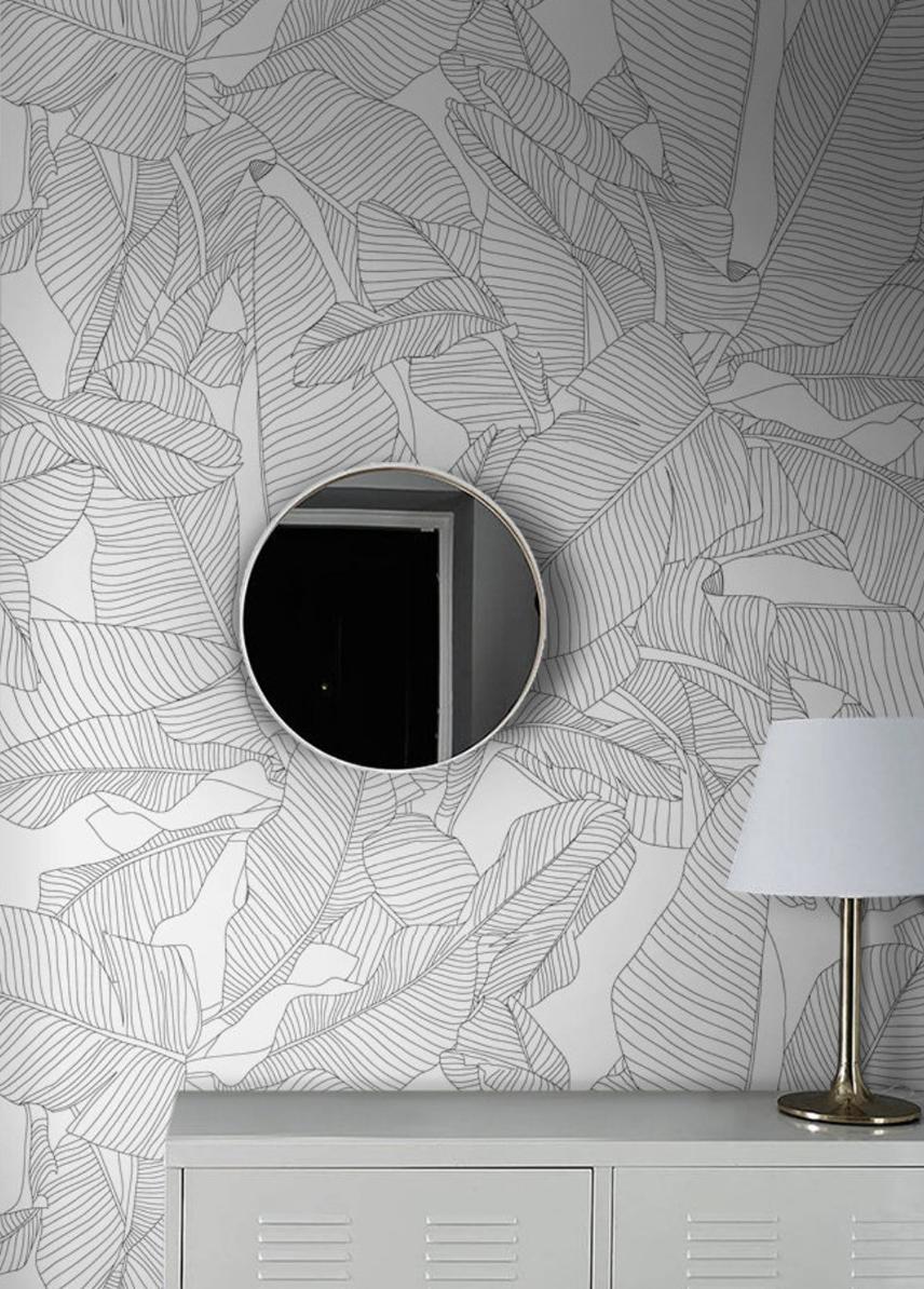 Delicate Banana Leaves Wallpaper Minimalist Wall Decor Self Adhesive Or Traditional Wallpaper Tropical Leaf Foliage 21 In 2021 Minimalist Wall Decor Leaf Wallpaper Unusual Wallpaper