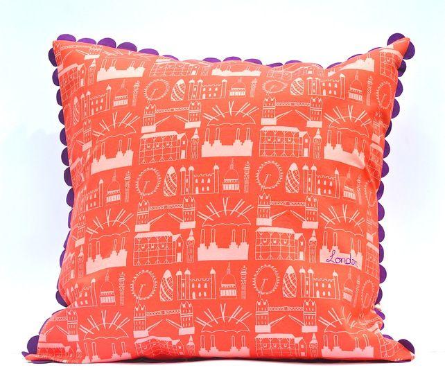 Hand-Made Red London Print Cushion £50.00