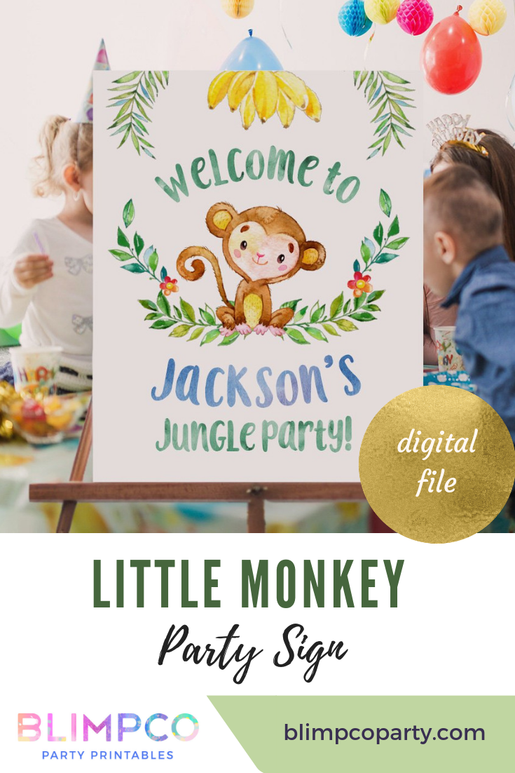 Little Monkey Large Scale Printable Party Backdrop