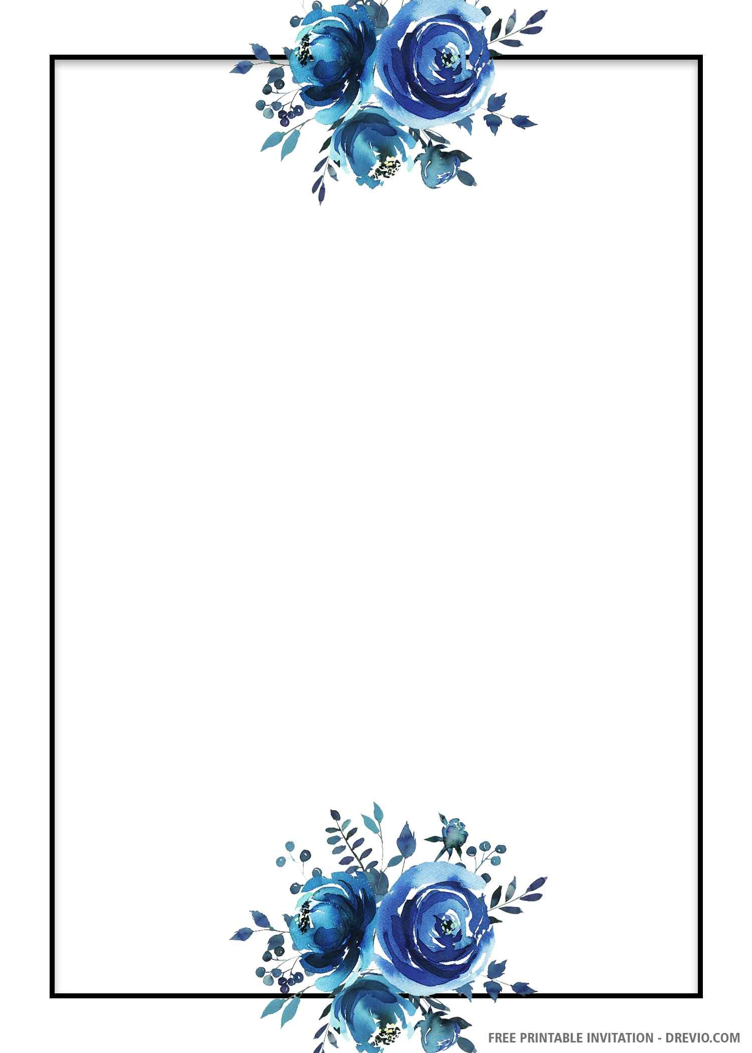 Free Printable Blue Floral Wedding Invitation Template Drevio Floral Wedding Invitations Free Wedding Invitation Templates Wedding Invitation Background