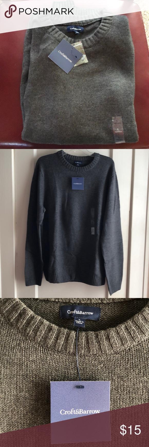 Croft Barrow Gray Crewneck Sweater Grey Crewneck Crew Neck Sweater Sweaters [ 1740 x 580 Pixel ]