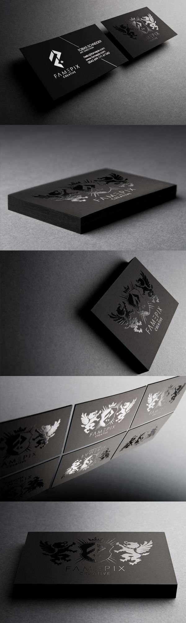 Printed on plike paper 260g silver offset pantone and spot black on black businesscards famepix business cards creattica magicingreecefo Image collections