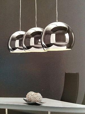 Deckenleuchte Esstisch 209 design pendelleuchte hängeleuchte 3 x grosse silberkugel