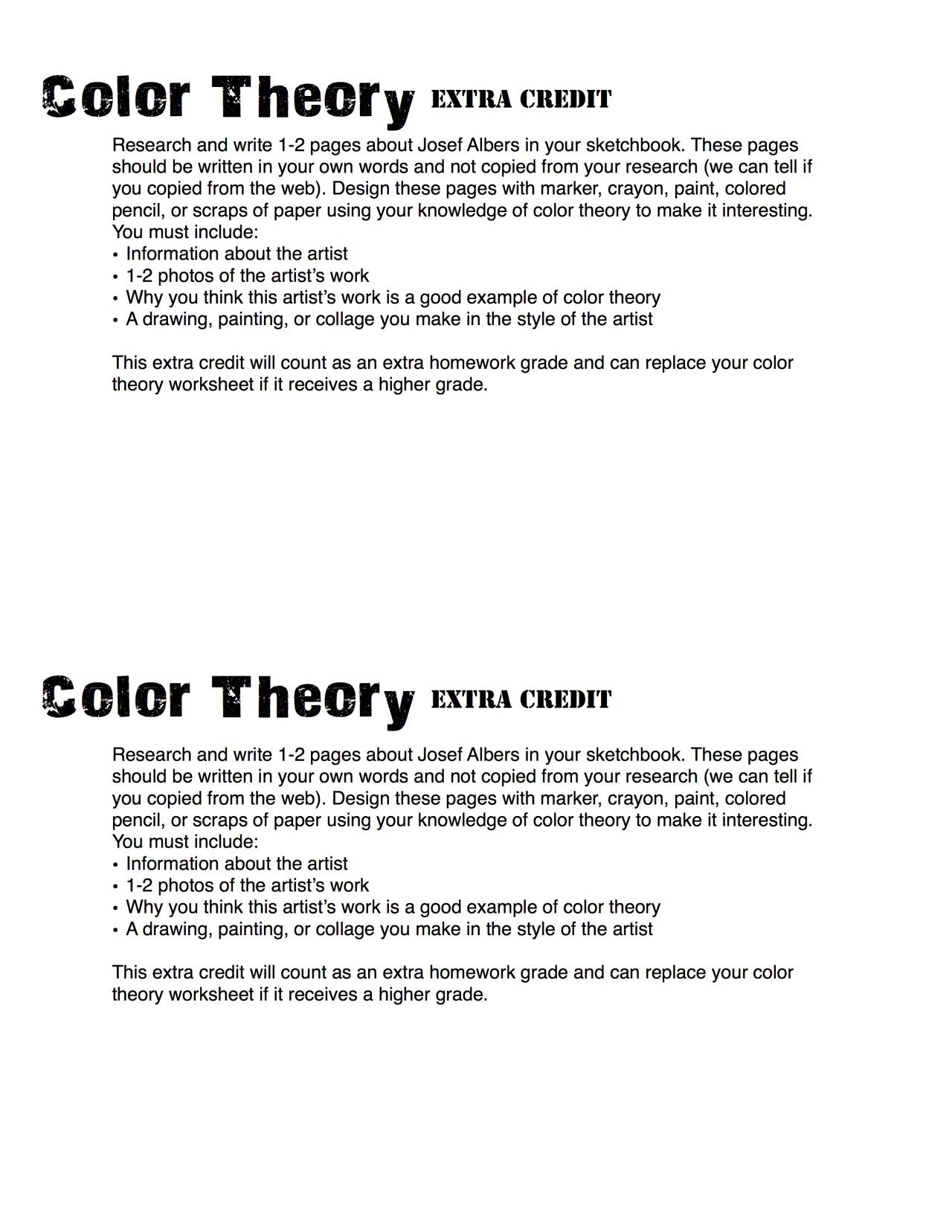 Color Theory Homework The First One Was The Assignment