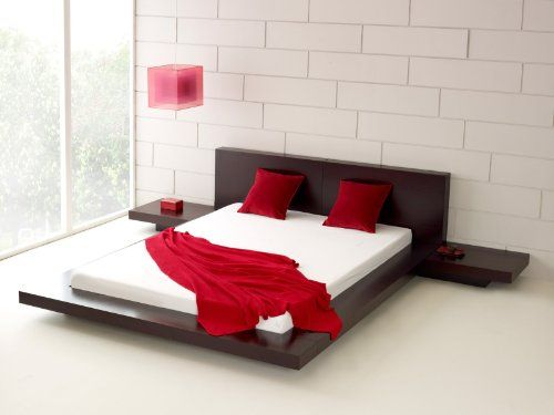 Amazon.com: Fujian Modern Platform Bed + 2 Night Stands King ... www ...
