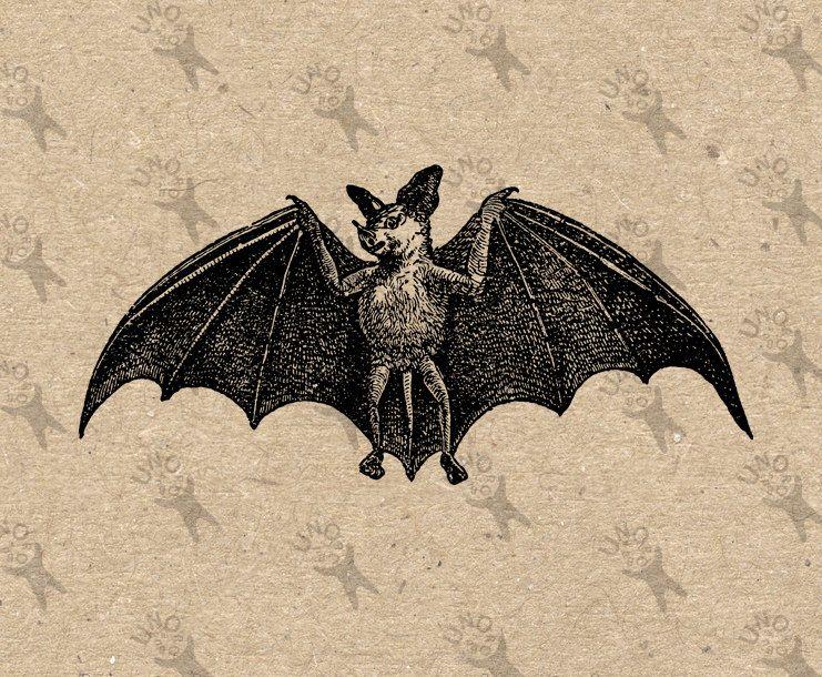 Vintage Image Halloween Bat Instant Download Digital Printable Clipart Graphic Fabric Transfer Decoupage Burlap P Vintage Images Printing On Burlap Tibet Art