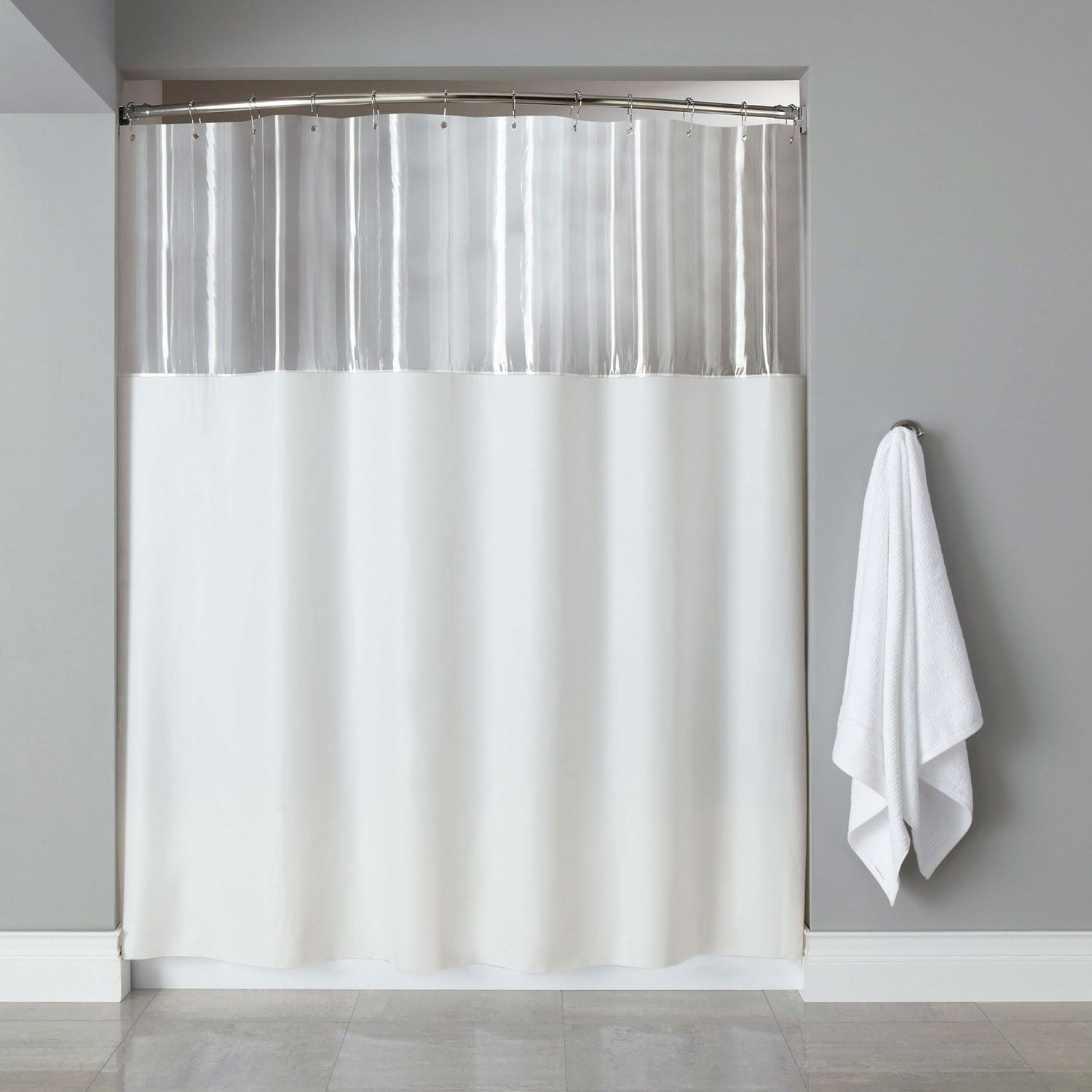 Extra long mildewresistant clear shower curtain