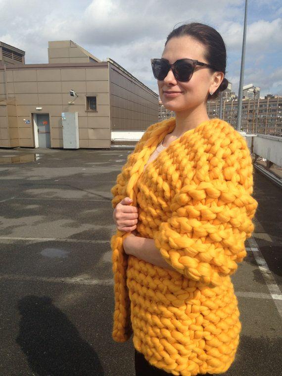 merino wol chunky coat by ShapkinaKnits on Etsy