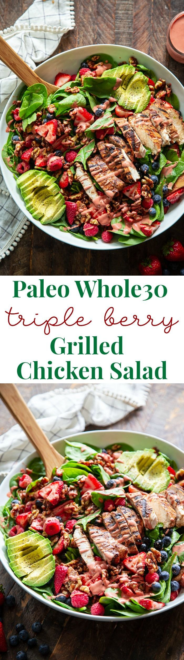 Triple Berry Avocado Grilled Chicken Salad {Paleo, Whole30} | #ketofriendlysalads
