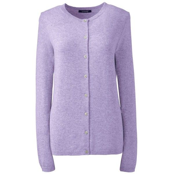 Lands  End Women s Petite Cashmere Cardigan Sweater ( 169) ❤ liked on  Polyvore featuring dffe84678