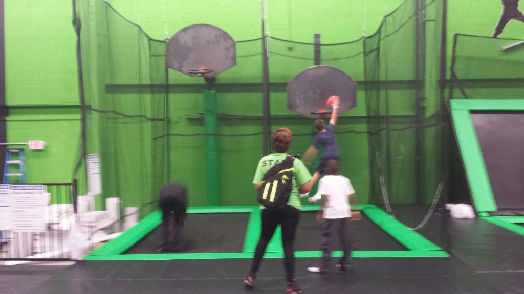 slam dunk basketball court at launch trampoline park