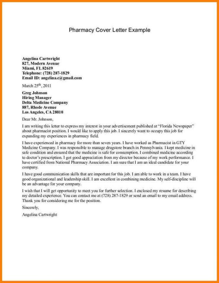 Cover Letter Cool 12 Cover Letters For Pharmacy Technicians  Agreementtemplatesinfo Letter
