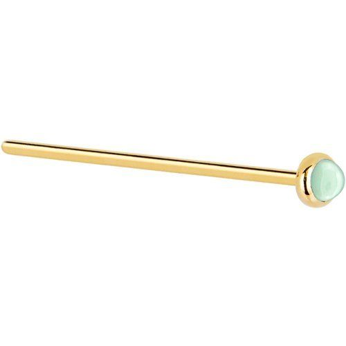 Solid 14KT Yellow Gold 2mm Aventurine Quartz Straight Fishtail 3/4 - 20 Gauge Body Candy. $27.99. Save 62% Off!