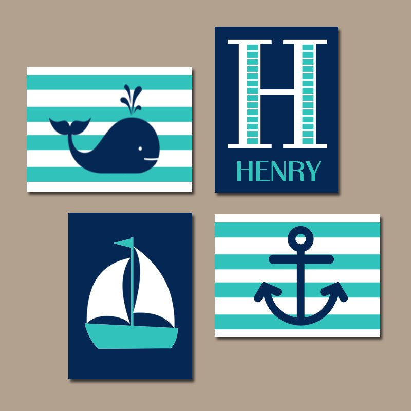 Whale Nursery Boy Nautical Canvas Art Wall Sailboat