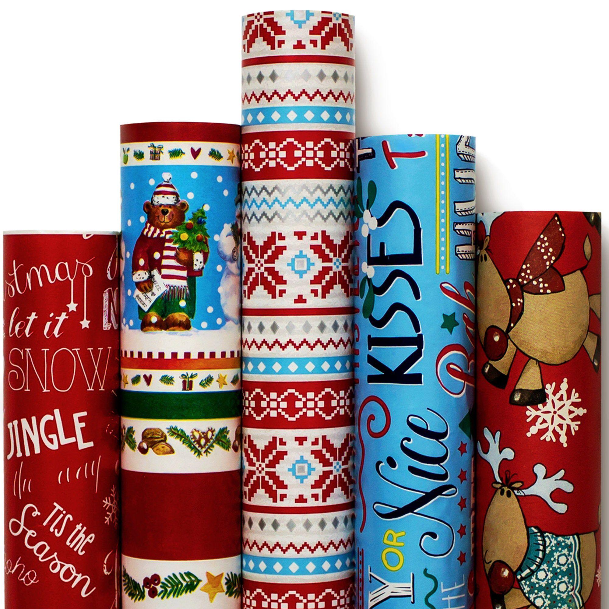 Christmas Wrapping Paper - Reindeer Santa Snowmen ...