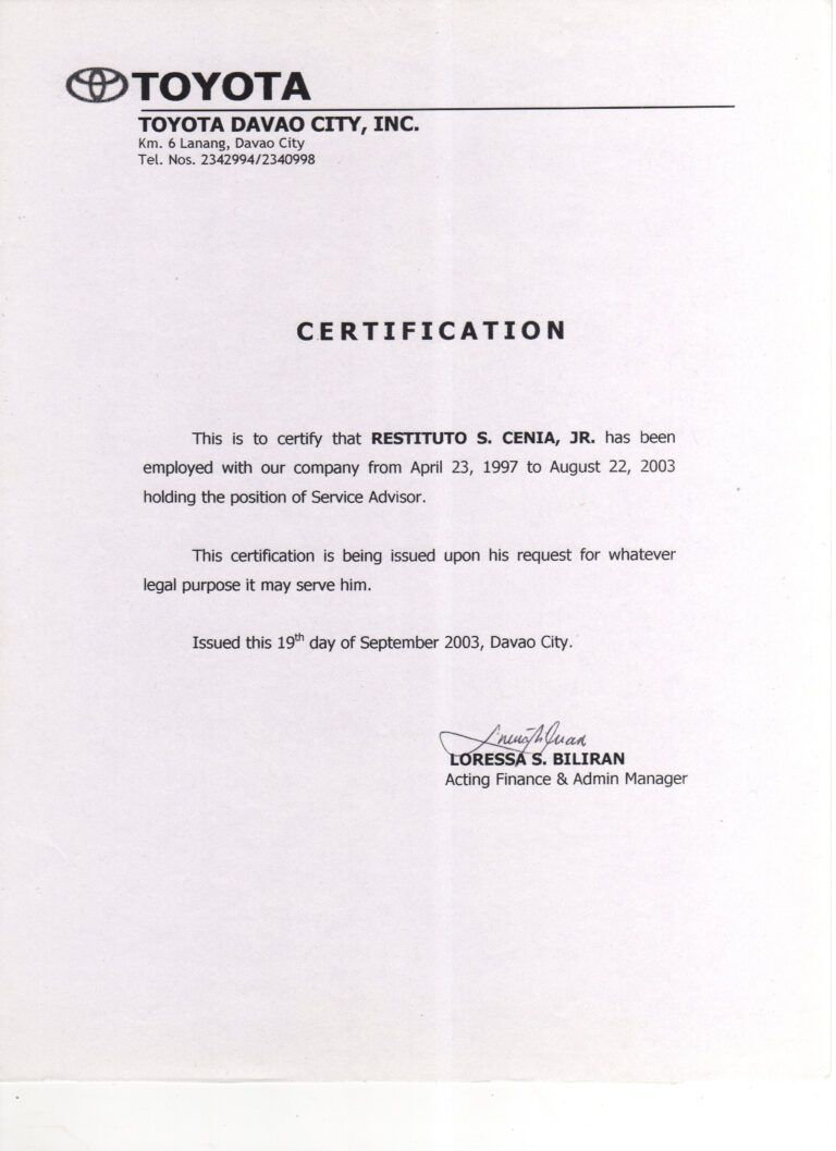 Sample Certificate Employment And Pensation Forza