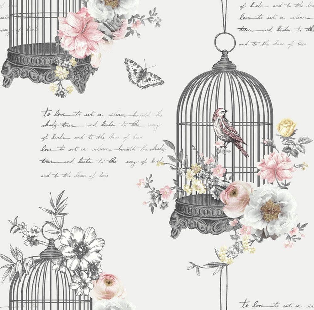 Pastel Yellow And Pink Floral Wallpaper Birdcage Shabby Chic Wallpaper Shabby Chic Painting Shabby Chic Background