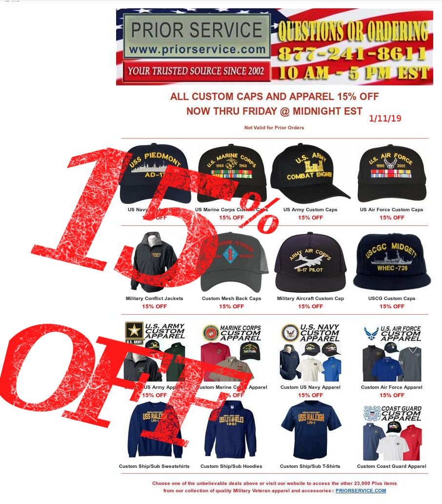 Flash Sale 15 Off All Custom Military Caps And Apparel Https Www Priorservice Com Custom Military Items Html Thru Friday Midnight Est 1 11 19 N Custom Clothes