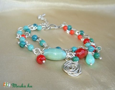 turquoise-red wire wrapped bracelet