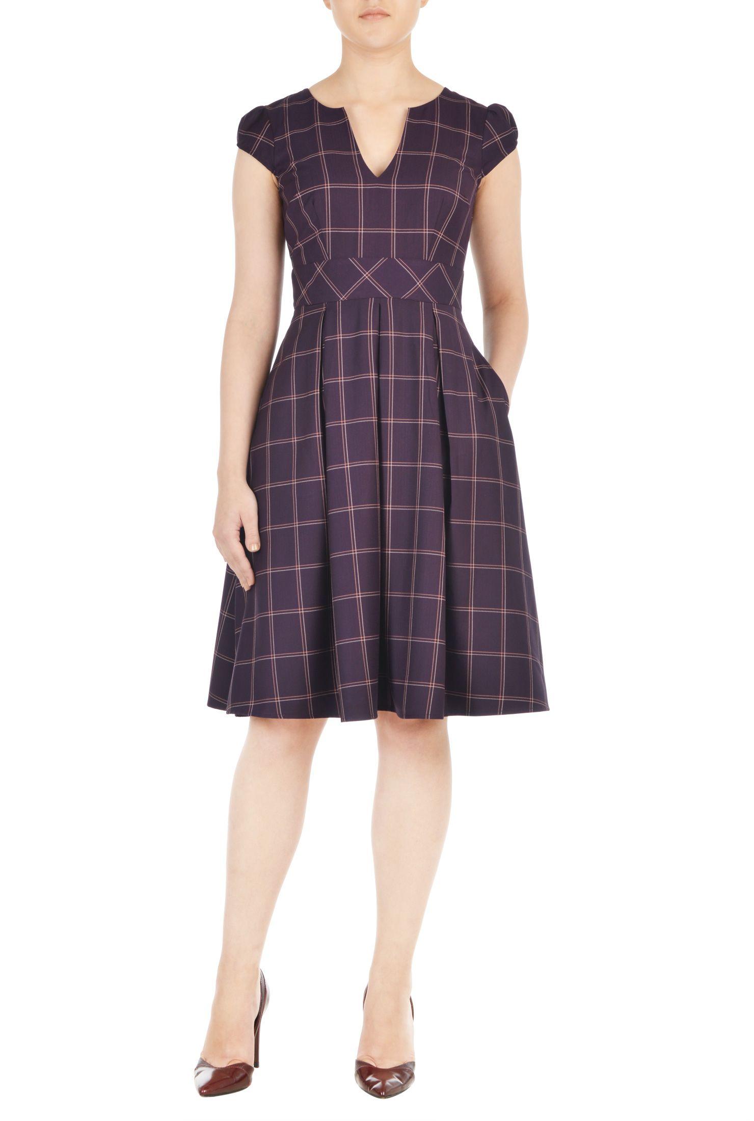 Windowpane check notch neck dress | Box pleat skirt, Box pleats and ...