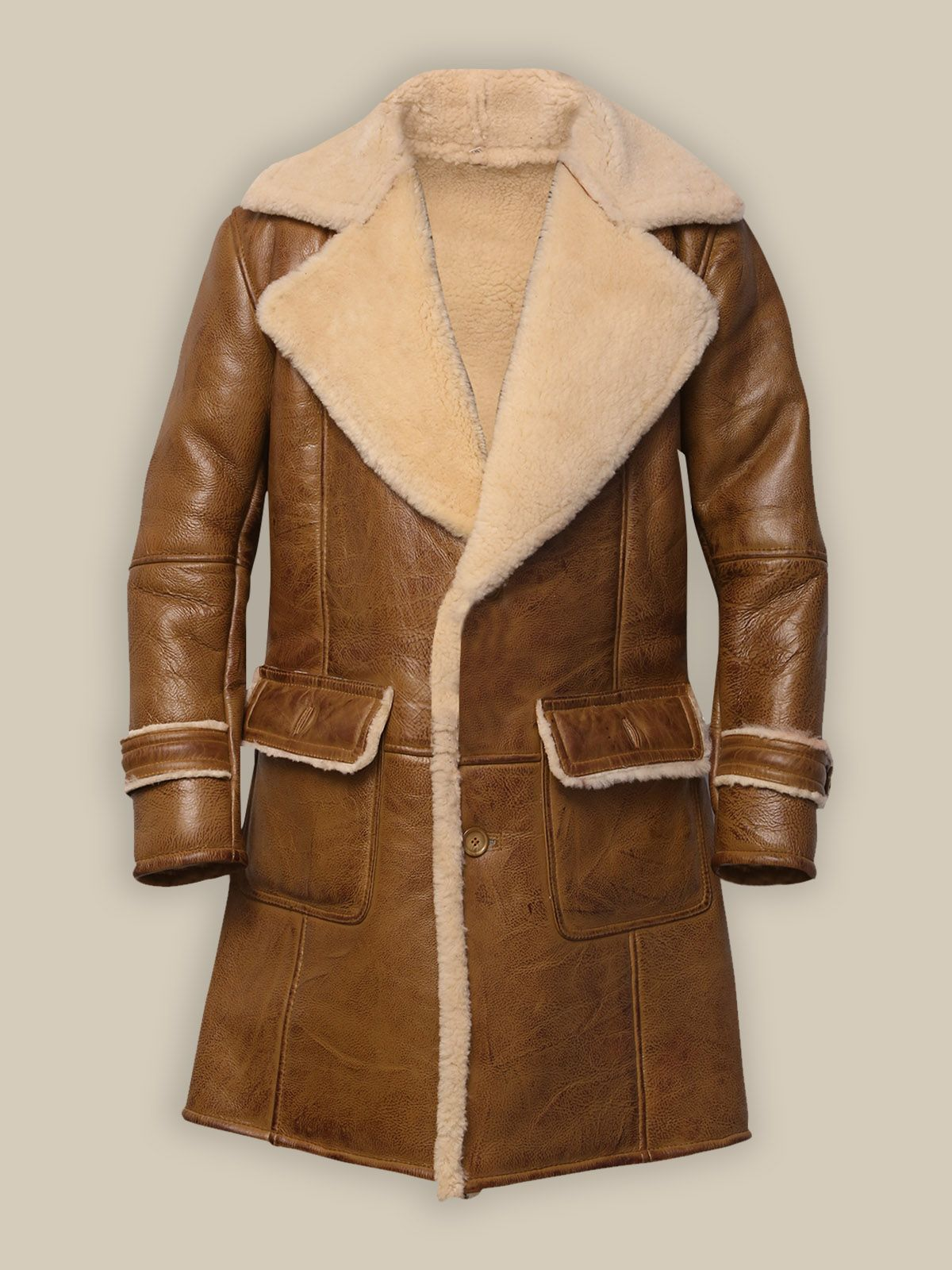 Men Brown Shearling Leather Coat Leather jacket men