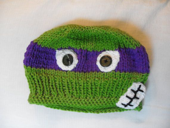 Teenage Mutant Ninja Turtle Knitted Hat - Adult size knit hat via ...