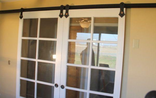 Converting French Doors To Sliding Barn Door Hardware Houzz French Doors Vintage French Doors Barn Door