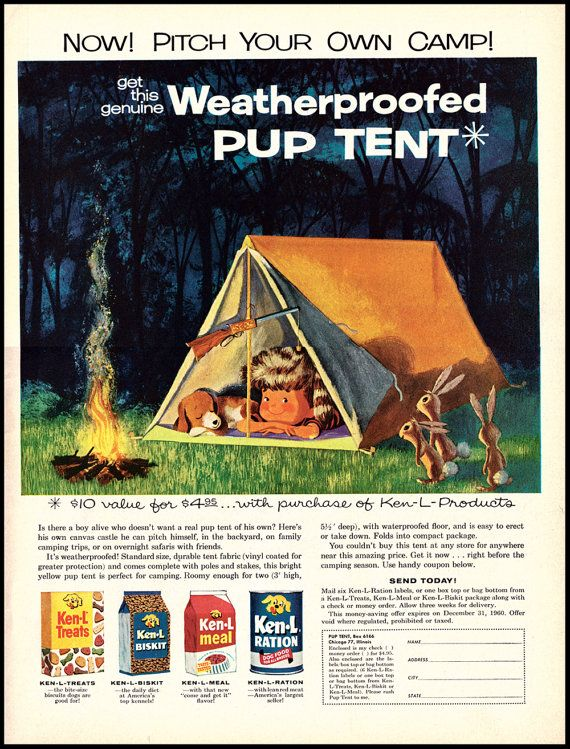 1960 Ken-L Ration Vintage Print Advertisement Pup Tent Offer Little Boy and Dog  sc 1 st  Pinterest & 1960 Ken-L Ration Vintage Print Advertisement Pup Tent Offer ...