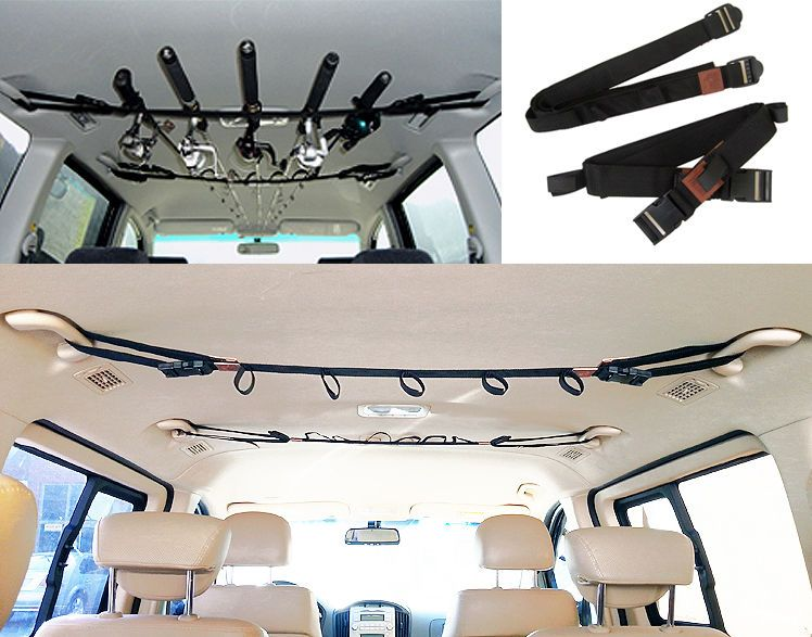 Car vehicle fishing fish rod pole rack strap carrier tie for Suv fishing rod holder