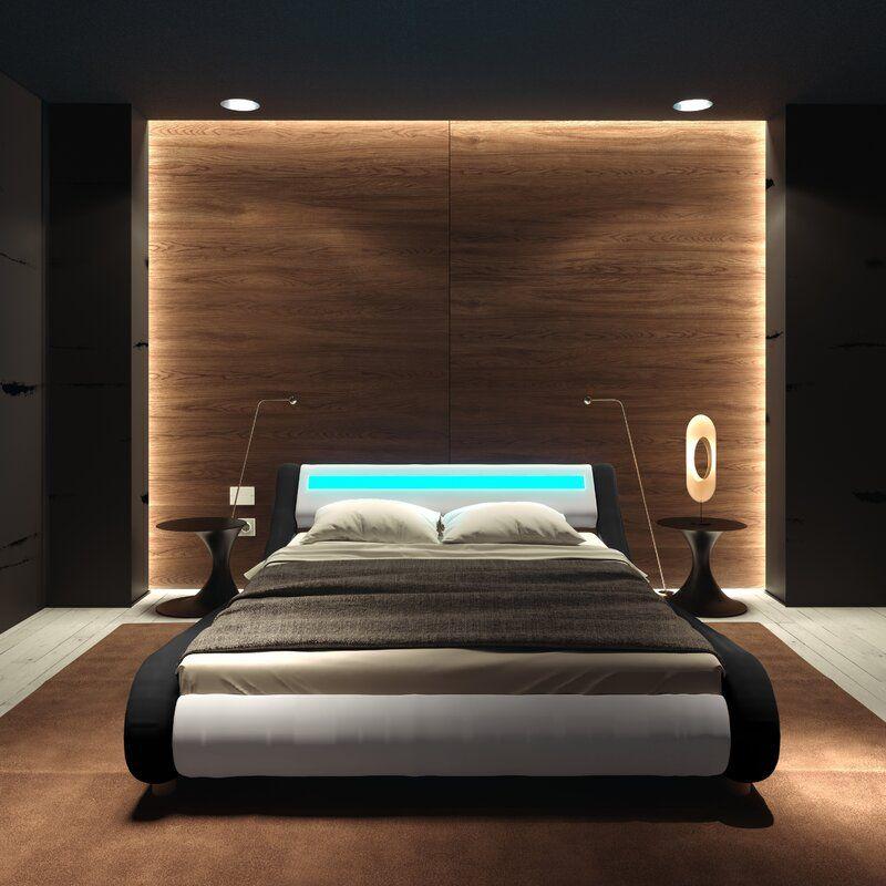Karratha Upholstered Low Profile Platform Bed In 2020 Black Bedroom Design Modern Luxury Bedroom Modern Bedroom Design