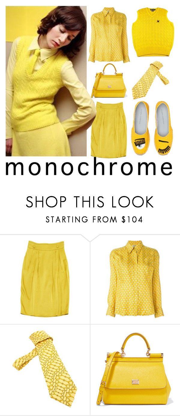 """monochrome yellow"" by karen-lynn-rigmarole ❤ liked on Polyvore featuring Gucci, Hermès, Dolce&Gabbana, Chiara Ferragni, monochrome, yellow and mirandajuly"