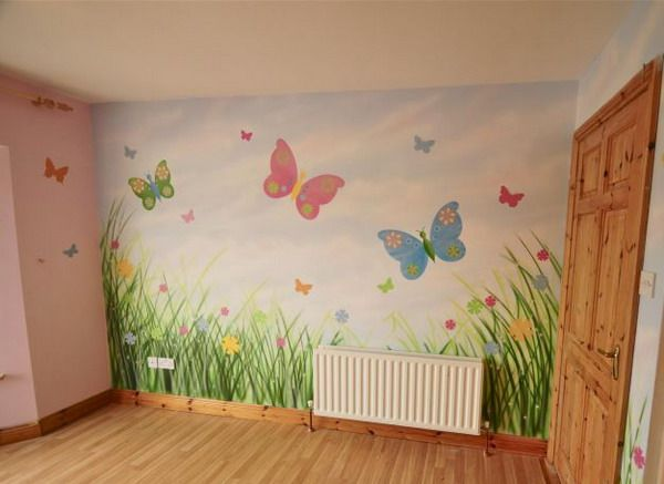 Girls Wall Mural Paper Garden Wall Mural Butterfly Wallpaper Murals