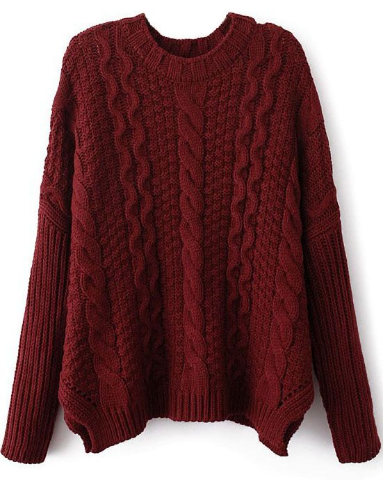 Wine Red Long Sleeve Cable Knit Loose Sweater | Loose sweater ...