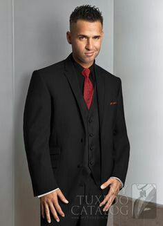 Tuxedo With Red Tie Black Vest And Black Shirt Black And Red Tux