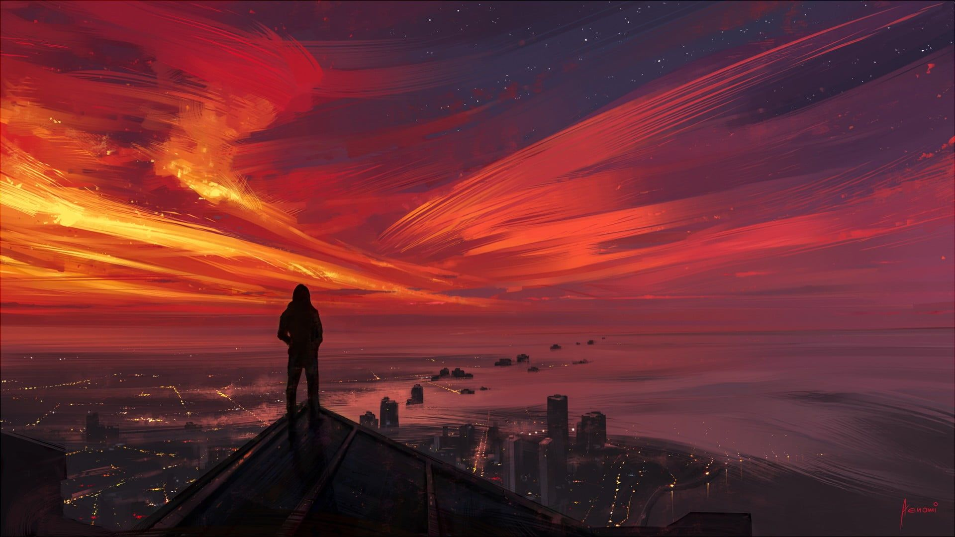 silhouette of man on roof digital wallpaper, person standing on top of building with a view of city during sunset looking into the distance #cityscape #painting #sunset #sky #dark #sunlight #horizon #1080P #wallpaper #hdwallpaper #desktop
