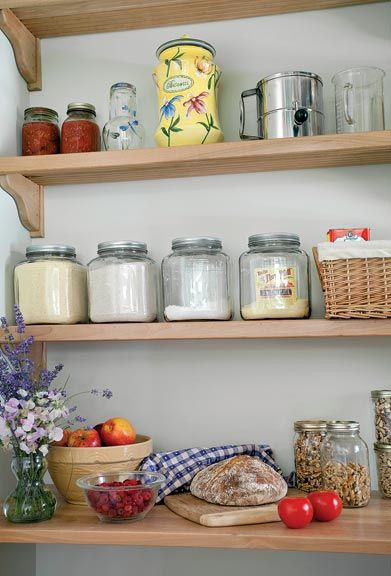 Shelving is in the kitchen kept open for a country farmhouse feel.