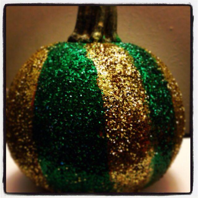 Baylor green and gold glitter pumpkin #BaylorProud #SicEm #Baylor