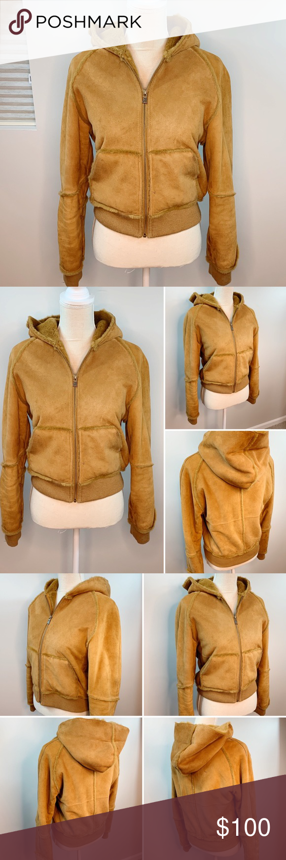 UGG Genuine Suede Leather Hooded Bomber Jacket Hooded